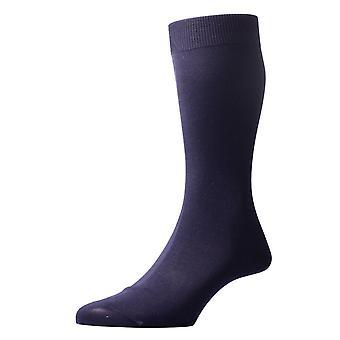 Pantherella Sackville Flat Knit Cotton Lisle Socks - Navy