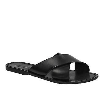 Black leather slide sandals for women handmade
