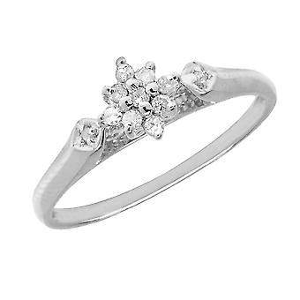 LXR Sterling Silver Diamond Cluster Ring