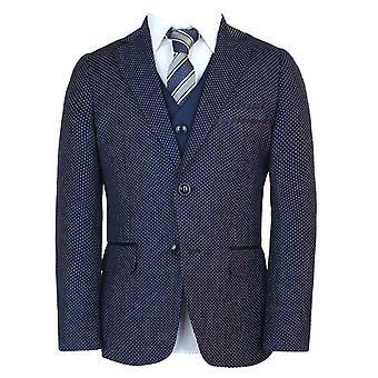 男の子イタリア語スリム フィット イタリア 3 ピース水玉ネイビー ブルー ボーイ、ローマで結婚式、ディナー、聖体拝領スーツ