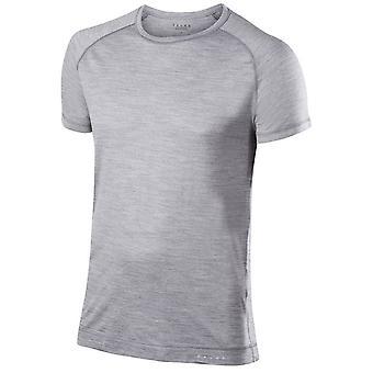 Chemise à manches courtes laine soie Falke - gris chiné
