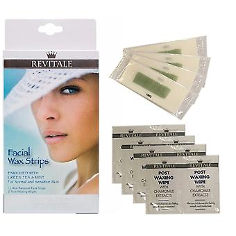 Revitale Facial Wax Strips Kit Enriched Green Tea & Mint Normal & Sensitive Skin