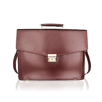 Lombard Satchel Briefcase Landscape, Flap Over 15.0