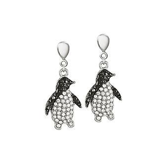 Ewige Sammlung Percy Pinguin Kristallsilber Ton Drop Clip auf Ohrringe