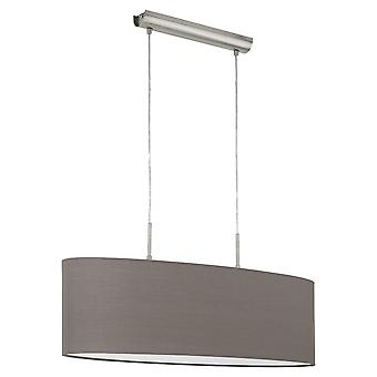 Eglo - Pasteri 2 Light Ceiling Pendant In Satin Nickel Finish With Anthracite Brown Fabric Shade EG31583