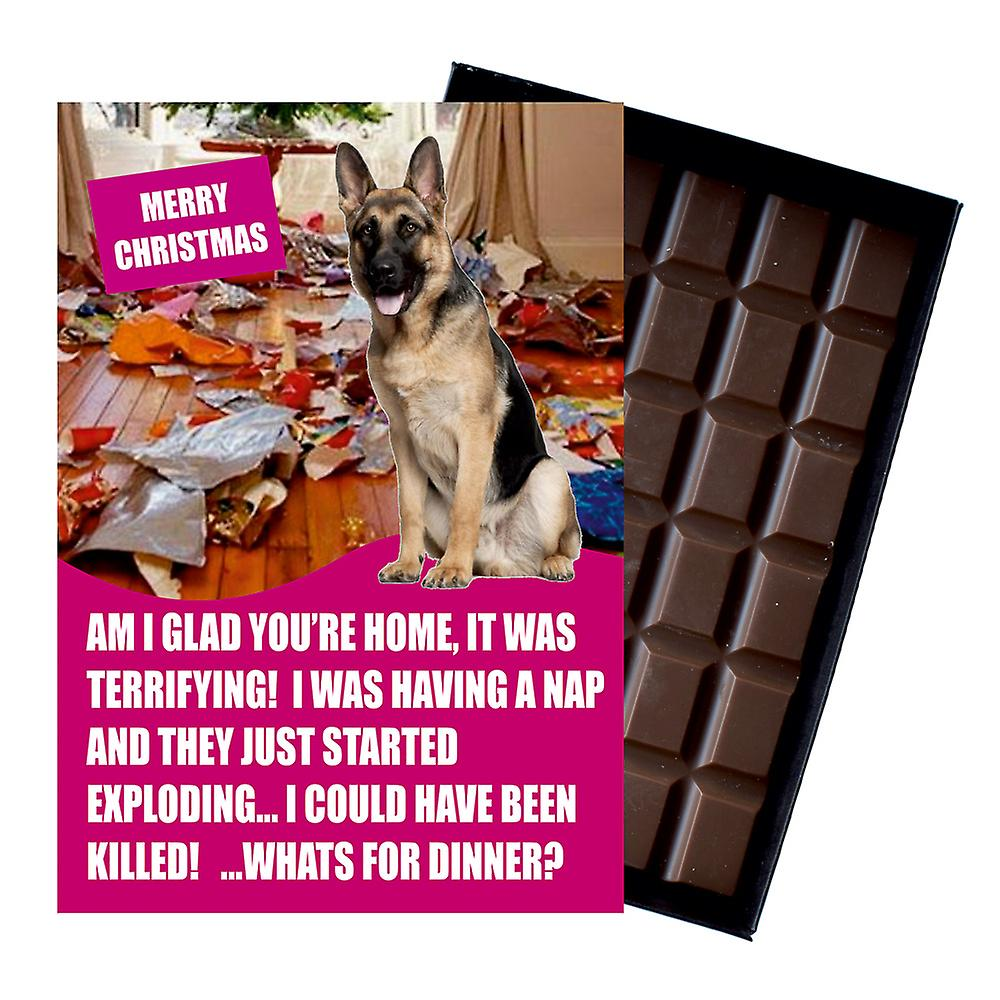 German Shepherd Funny Christmas Gift for Dog Lover Boxed Chocolate Greeting Card Xmas Present