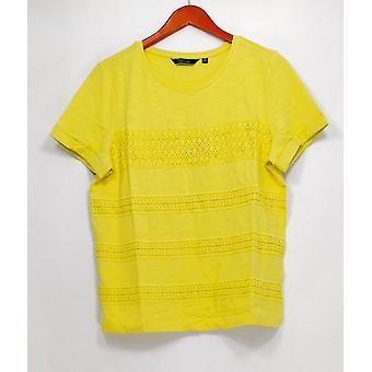 C. wonder vrouwen ' s top korte mouw SLUB Knit Tee w/Lace geel A278457