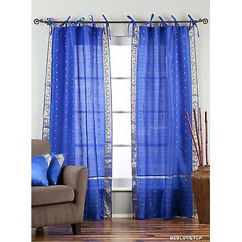 Bezaubernde blaue Krawatte Top schiere Sari Vorhang / drapieren / Panel - paar