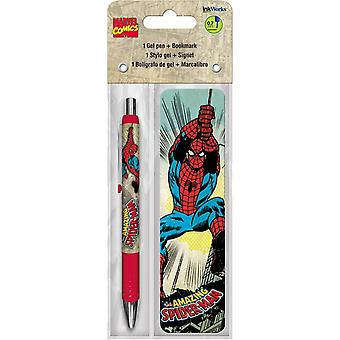 Gel Pen - Spider-Man - w/Bookmark Packs Toys Gifts Stationery New iw3501