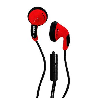 Maxell 196144 Color Buds Headphones with Microphone, Red
