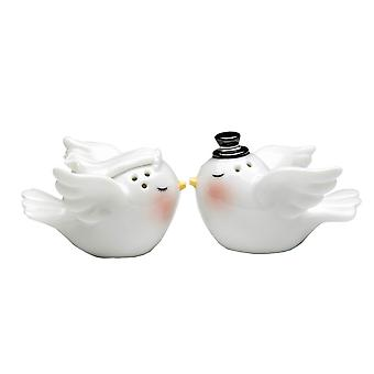 Bride and Groom Love Birds Wedding Salt and Pepper Shakers