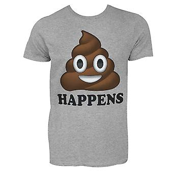 Shit Happens Poop Emoji Men's Gray T-Shirt