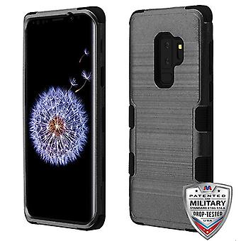 MYBAT Black Brushed/Black TUFF Hybrid Phone Protector Cover for Galaxy S9 Plus
