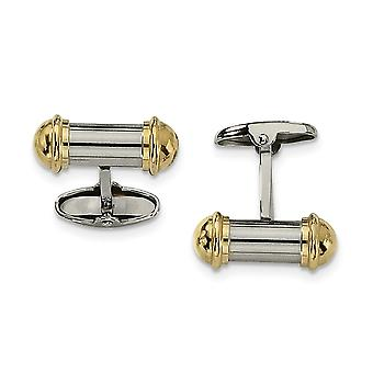 Stainless Steel Polished Yellow IP plated 24k Gold Plating Cuff Links Jewelry Gifts for Men