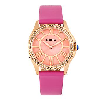 Bertha Donna mor-of-Pearl læder-band Watch-pink