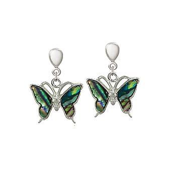 Eternal Collection ota lento paua Shell Butterfly Hopea sävy pudota ruuvi takaisin Clip korva korut