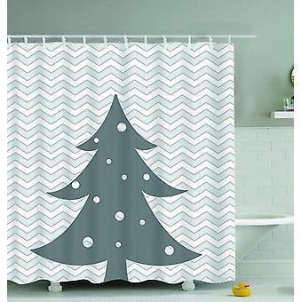 Grigio e bianco Albero di Natale doccia tenda