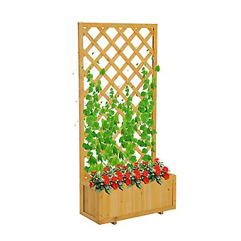 Outsunny Garden Wooden Pine Trough Planter with Topped Trellis Climbing Plants Flower Raised Bed