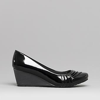 Comfort Plus Cortez Ladies Wide Fit Wedge Heel Shoes Black