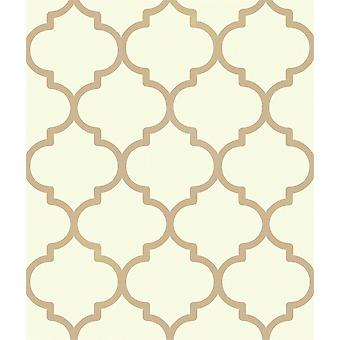 Metal latice Wallpaper Trellis Geometric Cream Oro Metalizado Holden Decoración