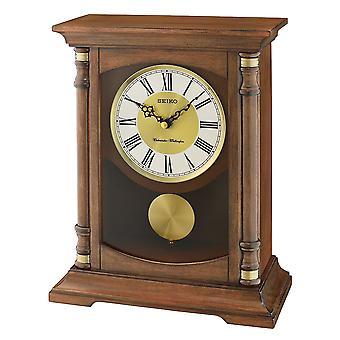 Seiko melodi Mantel klokke med pendelen tre Brown (Modell nr. QXQ034B)