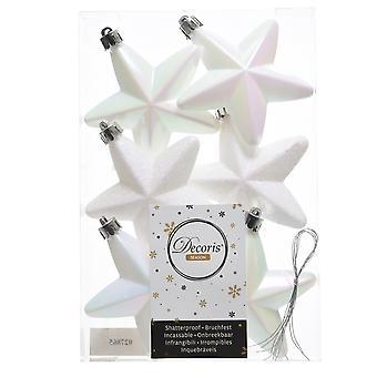 6cm iriserende hvid folie & glitter Christmas stjerne træ baubles-6 Pack