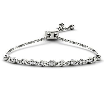 IGI gecertificeerde 925 Solid Sterling Silver 0,15 Ct ronde geslepen diamant Bolo armband