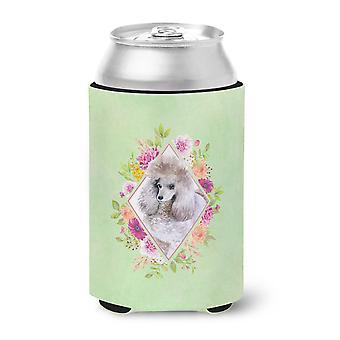 Standard Grey Poodle Green Flowers Can or Bottle Hugger