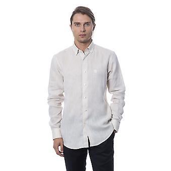 Męskie beżowe koszulki z długim rękawem Roberto Cavalli