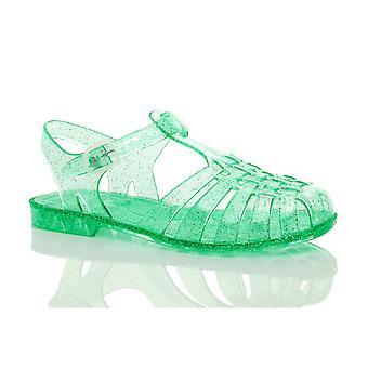 Ajvani womens plana jalea goma verano retro 90s hebilla sandalias zapatos ojotas