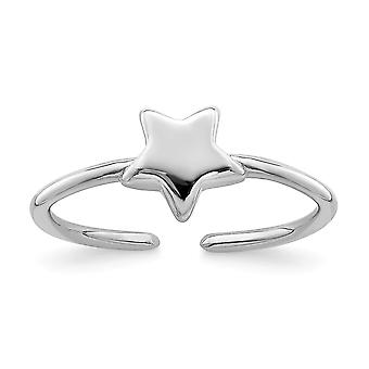 925 Sterling Silver Rhodium plated Polished Star Toe Ring Jewelry Gifts for Women - .7 Grams