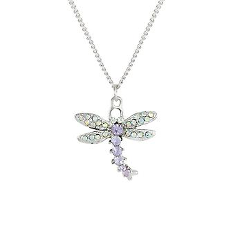 Eternal Collection Dazzling Dragonfly Violet Crystal Silver Tone Pendant