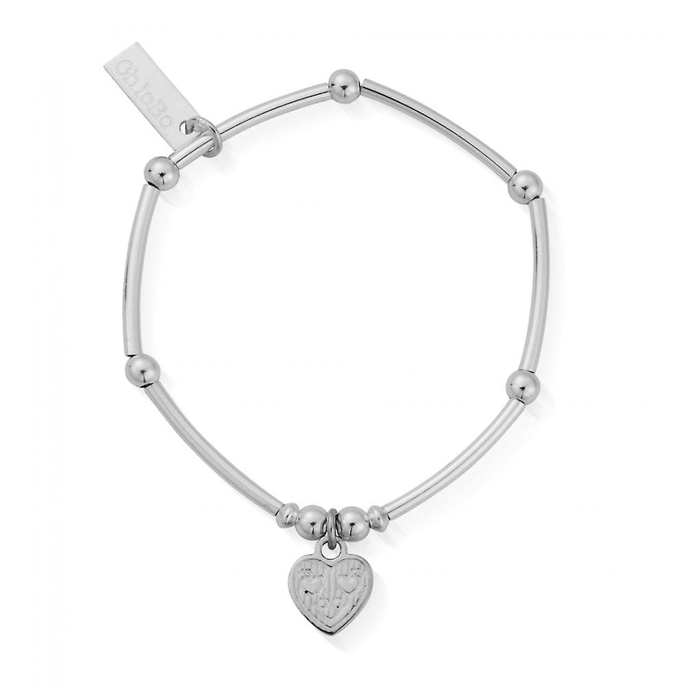 ChloBo Children's Silver Mini Noodle Ball Tri-heart Bracelet