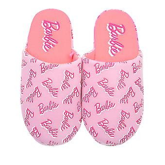 Barbie All Over Print Logo Pink Polyester Womens Slippers