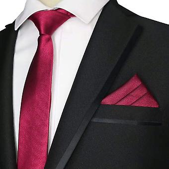 Red wine burgundy plain skinny tie & pocket square
