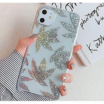 Mobile shell for iPhone XR with leaves in glitter