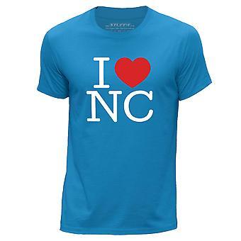 STUFF4 Men's Round Neck T-Shirt/I Heart NC / Love North Carolina/Blue