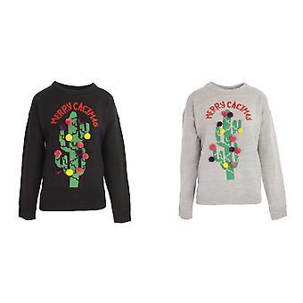 Brave Soul Womens/Ladies Christmas 'Merry Cactus' Jumper