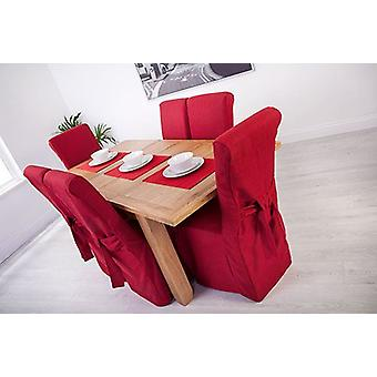 Red Linen Look Fabric Upholstered Slipcovers for Scroll Top Dining Chairs - 4 Pack