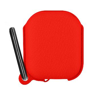 Airpods 1 and 2 Silicone Protective Case with Integrated Carabiner- Red