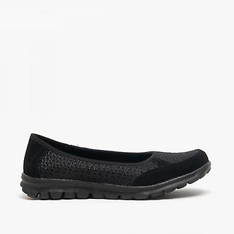 Boulevard L9548a Ladies Memory Foam Slip On Trainers Black