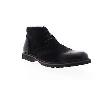 Zanzara Ancona  Mens Black Leather Lace Up Chukkas Boots