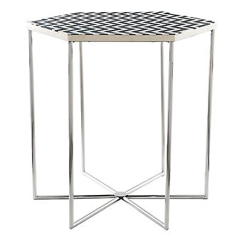 Bold Black and White Hexagonal Side End Table