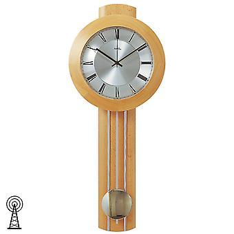 AMS 5132/18 ساعة الحائط راديو ساعة جدار راديو مع البندول الخشب الزان البندول الصلبة ساعة