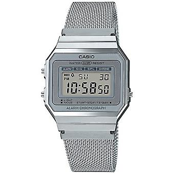 Casio Collection Quartz Digital LCD Dial Silver Mesh Stainless Steel Bracelet Watch A700WEM-7AEF