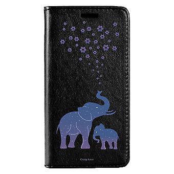 Fall für IPhone Xs Max schwarz blau Elefant Muster