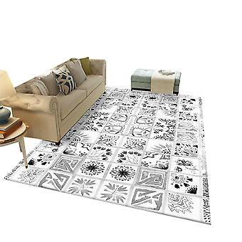 Square polyester fiber rug Color checkered printed carpet retro style home decoration for bedroom and living room