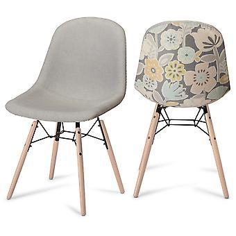Furnhouse Sun Dining Chair, Yellow/Grey, Natural Legs, 47x57x84 cm, Set of 2