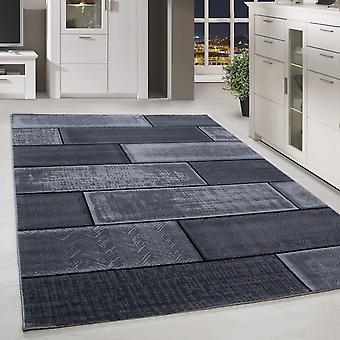 Kort flor design tæppe væg look stue tæppe sort lys grå broget