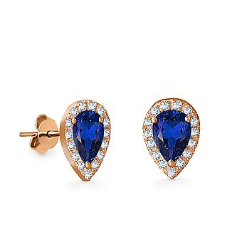 Earrings Empress Precious Stone,  18K Gold and Diamonds with Ruby | Emerald | Sapphire - Rose Gold, Sapphire